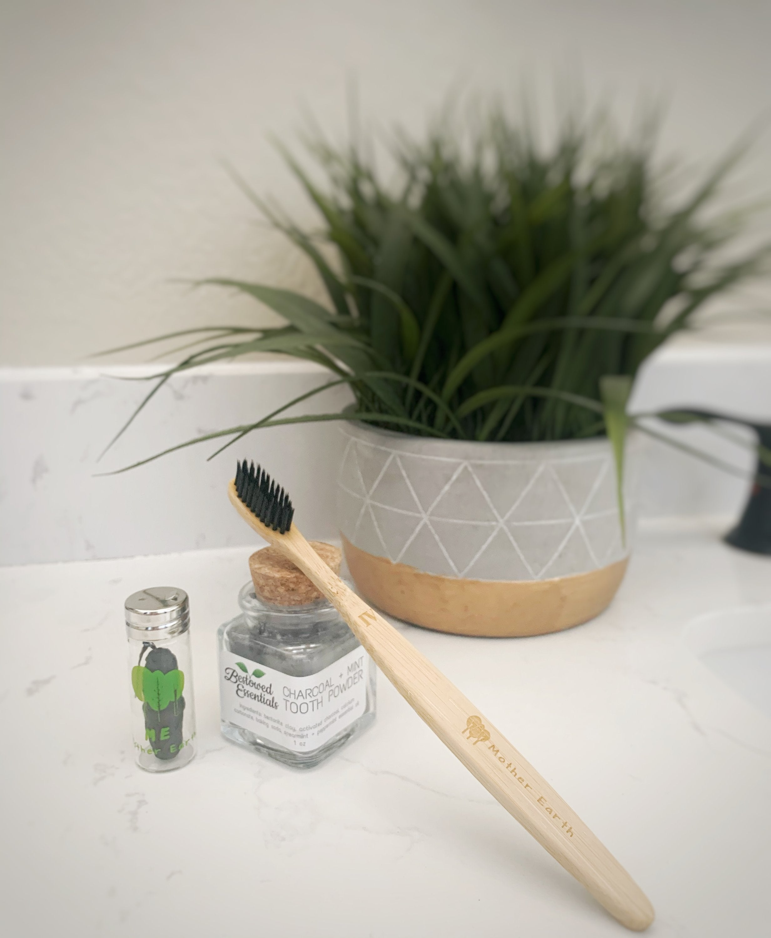 Two Bamboo Toothbrushes + Eco Dental Floss + Charcoal Toothpowder