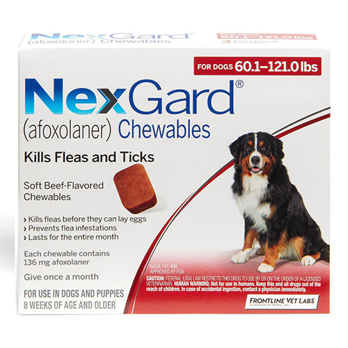 Nexgard for Extra Large Dogs 60.1-120-lbs-Red-easyvetsupplies