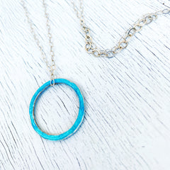 aqua open circle karma fine silver necklace with sterling silver chain