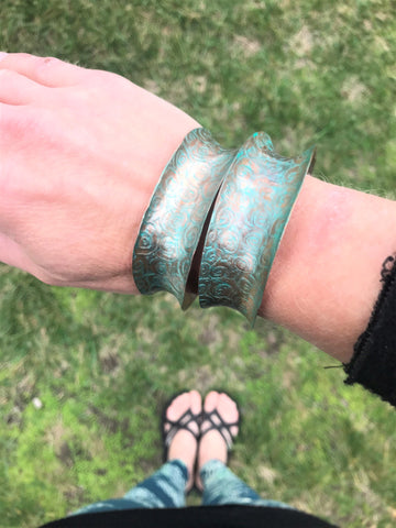 aqua copper etched anticlastic cuff