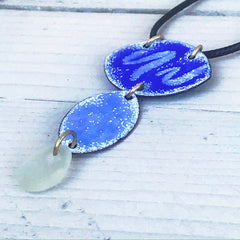 blue enamel ocean inspired necklace seaglass