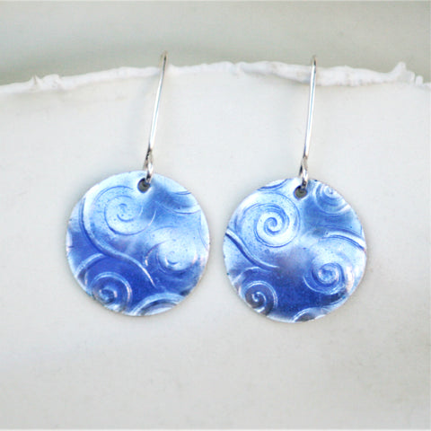light blue spiral texture fine silver earrings
