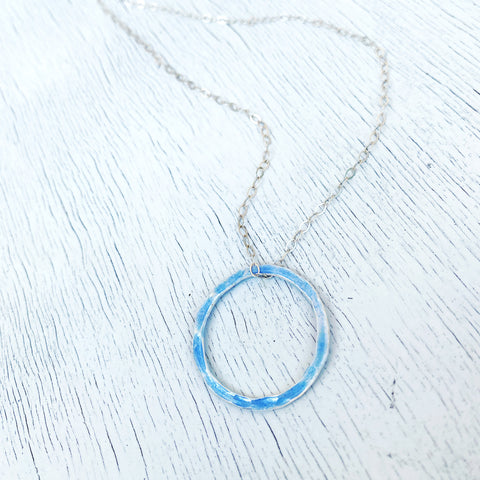 light blue open circle karma necklace silver sterling chain