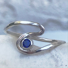 sapphire sterling wave ring