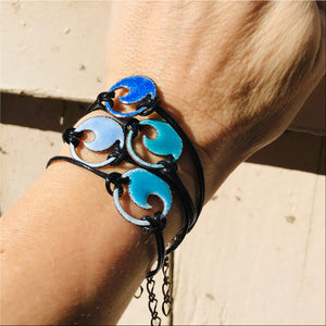 Aqua Blue Enamel Mini Wave Bracelet - Seaside Harmony Jewelry