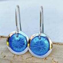 Load image into Gallery viewer, aqua transparent enamel fine silver disc earrings