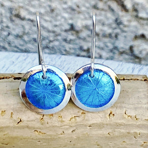 aqua transparent enamel fine silver disc earrings