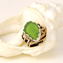 Load image into Gallery viewer, lime green sea glass 4 banded sterling and brass ring seaside harmony