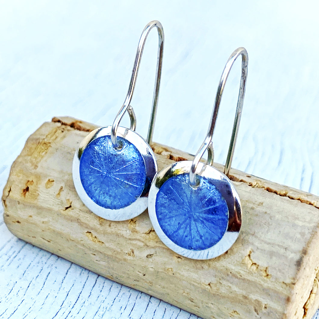 light blue fine silver enamel starburst disc earrings seaside harmony jewelry