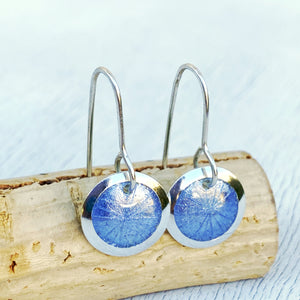 light blue transparent enamel fine silver disc earrings