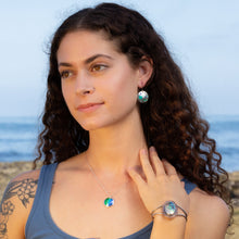Load image into Gallery viewer, ocean inspired silver domed necklace abalone cuff ocean earrings