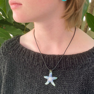 model wearing seastar starfish enamel necklace seaside harmony