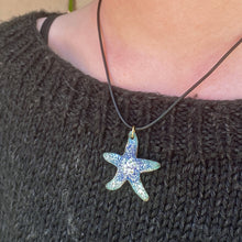 Load image into Gallery viewer, model wearing seastar starfish enamel necklace seaside harmony