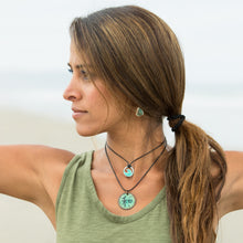 Load image into Gallery viewer, seagreen enamel mini wave necklace on yoga model