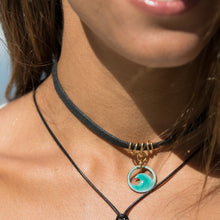 Load image into Gallery viewer, Seagreen Enamel Mini Wave Choker Necklace - Seaside Harmony Jewelry
