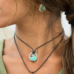 Seagreen Enamel Mini Wave Necklace - Seaside Harmony Jewelry