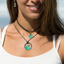 Load image into Gallery viewer, Transparent Aqua Blue Enamel Wave Necklace - Seaside Harmony Jewelry