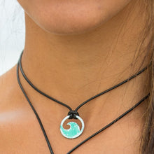 Load image into Gallery viewer, model wearing enamel mini wave necklace Seaside Harmony Jewelry
