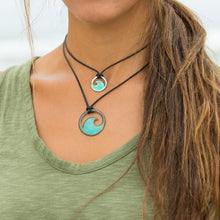Load image into Gallery viewer, model wearing mini and large enamel wave necklaces Seaside Harmony