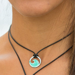 model wearing enamel mini wave necklace Seaside Harmony Jewelry