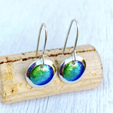 Load image into Gallery viewer, green and blues ocean colors transparent enamel fine silver disc earrings