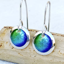 Load image into Gallery viewer, mixed blue and green fine silver enamel starburst disc earrings seaside harmony jewerly