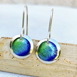 mixed blue and green fine silver enamel starburst disc earrings seaside harmony jewerly