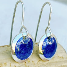 Load image into Gallery viewer, royal blue transparent enamel fine silver disc earrings