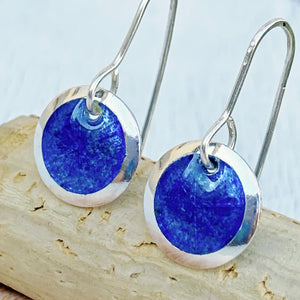 royal blue transparent enamel fine silver disc earrings