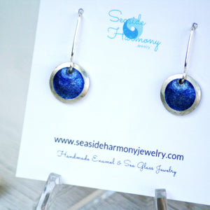 royal blue mini fine silver enamel round domed earrings