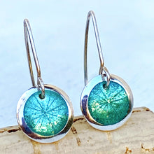 Load image into Gallery viewer, seagreen transparent enamel  fine silver disc earrings