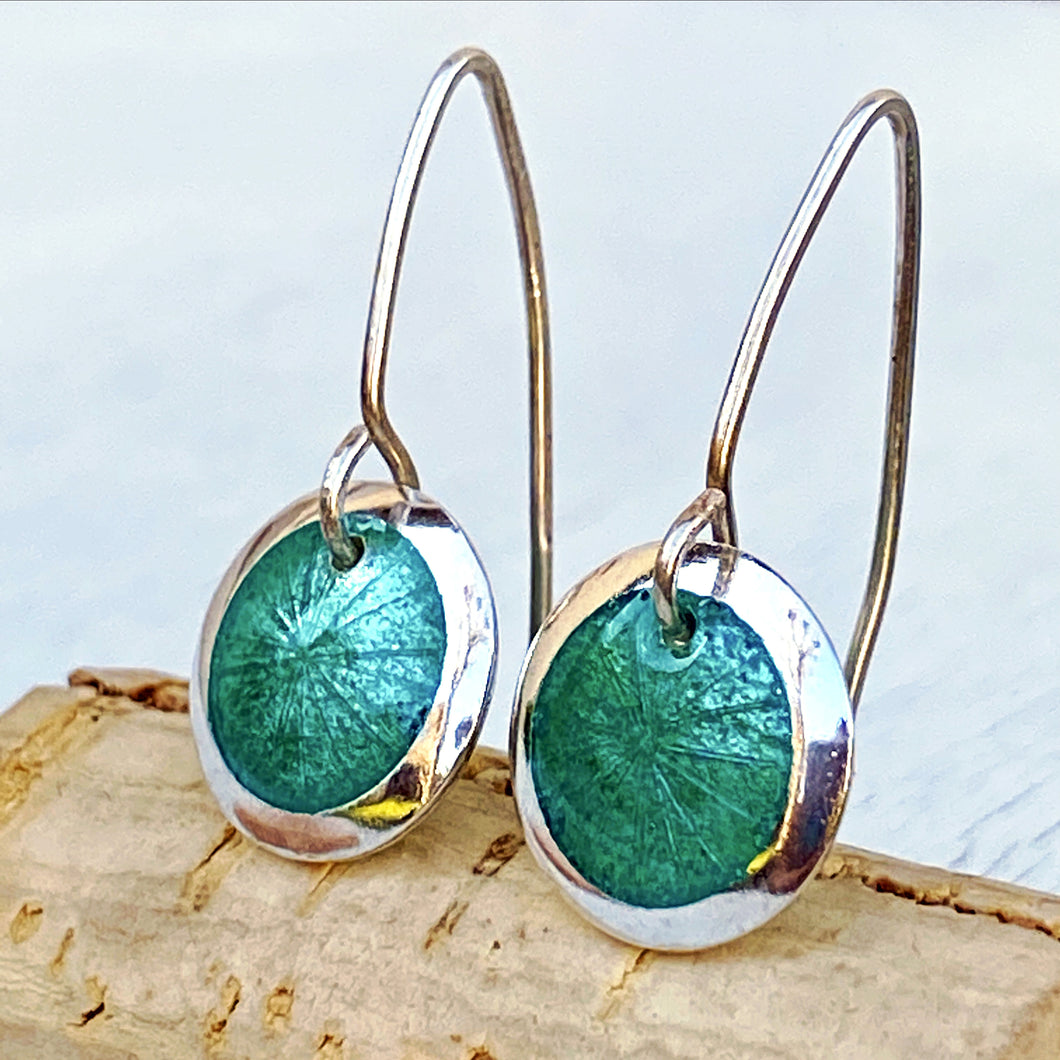 seagreen transparent enamel  fine silver disc earrings