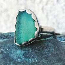 Load image into Gallery viewer, teal sea glass heavy sterling band ring seaside harmony
