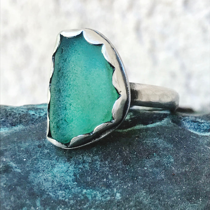 teal sea glass heavy sterling band ring seaside harmony