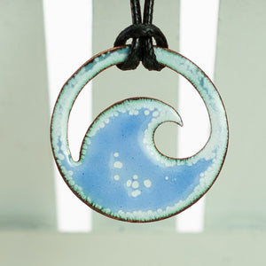 Baby Blue Enamel Wave Necklace - Seaside Harmony Jewelry