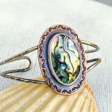 Load image into Gallery viewer, abalone paua cuff silver copper