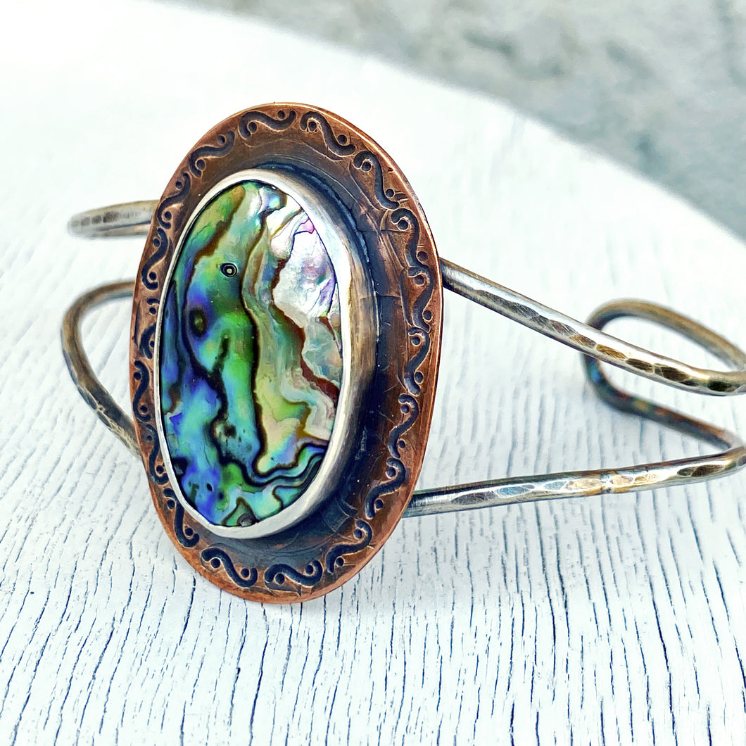 abalone paua cuff copper and silver