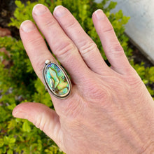 Load image into Gallery viewer, abalone paua sterling ring on my hand