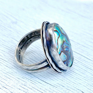 abalone paua stering ring