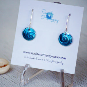 aqua blue spiral texture fine silver enamel round earrings
