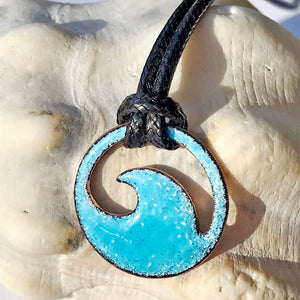 Aqua Blue Enamel Mini Wave Necklace - Seaside Harmony Jewelry