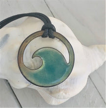 Load image into Gallery viewer, flux aqua wave enamel necklace seaside harmony