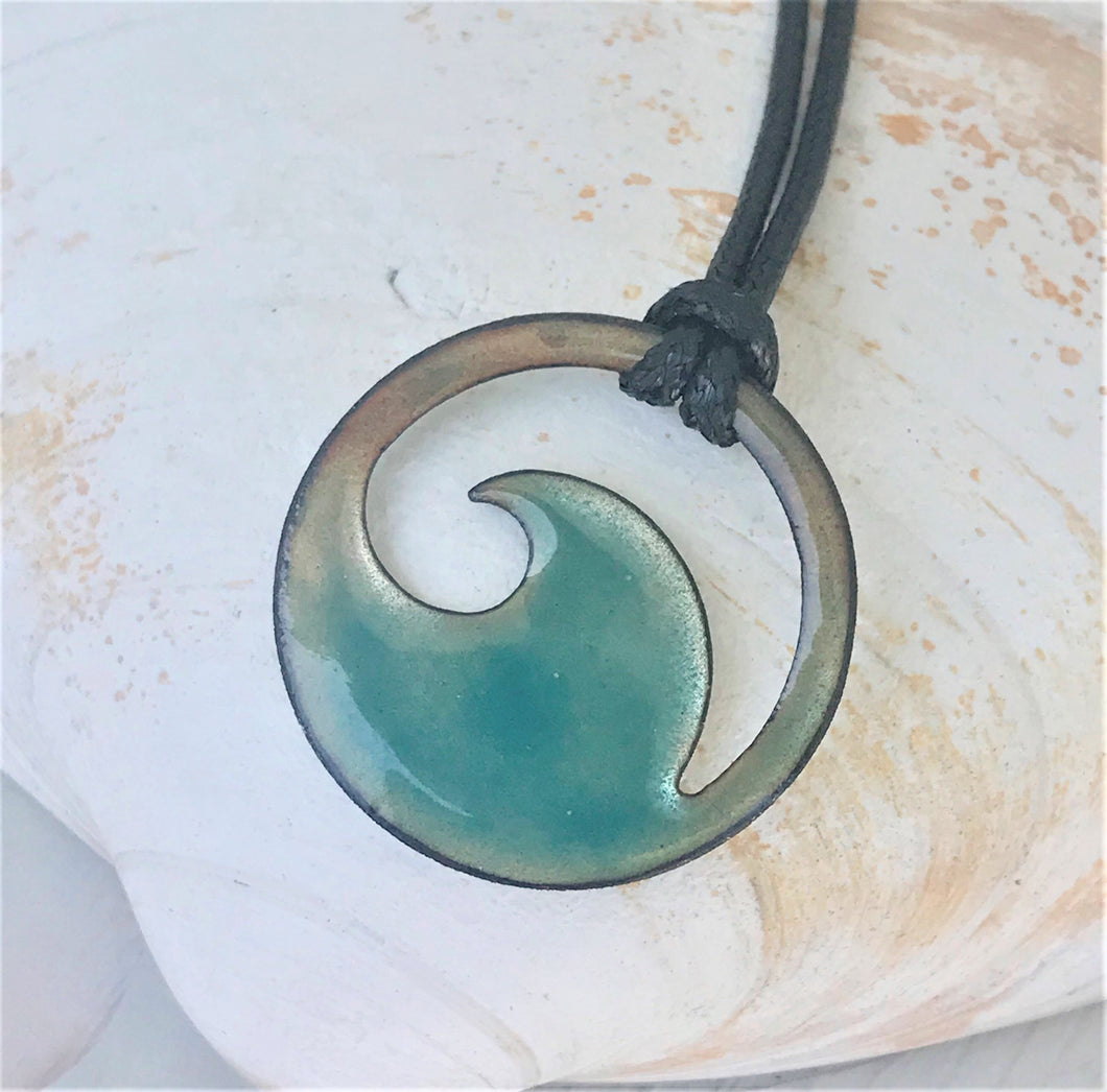flux aqua wave enamel necklace seaside harmony
