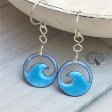 Load image into Gallery viewer, aqua mini wave enamel eternity earrings seaside harmony