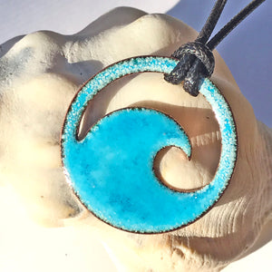 Aqua Blue Enamel Wave Necklace - Seaside Harmony Jewelry