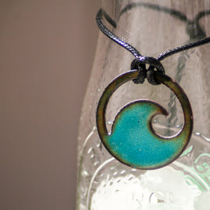 Transparent Aqua Blue Enamel Wave Necklace - Seaside Harmony Jewelry