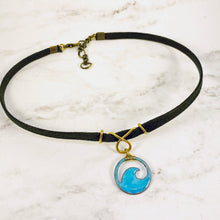 Load image into Gallery viewer, aqua blue enamel mini wave choker with brass bail