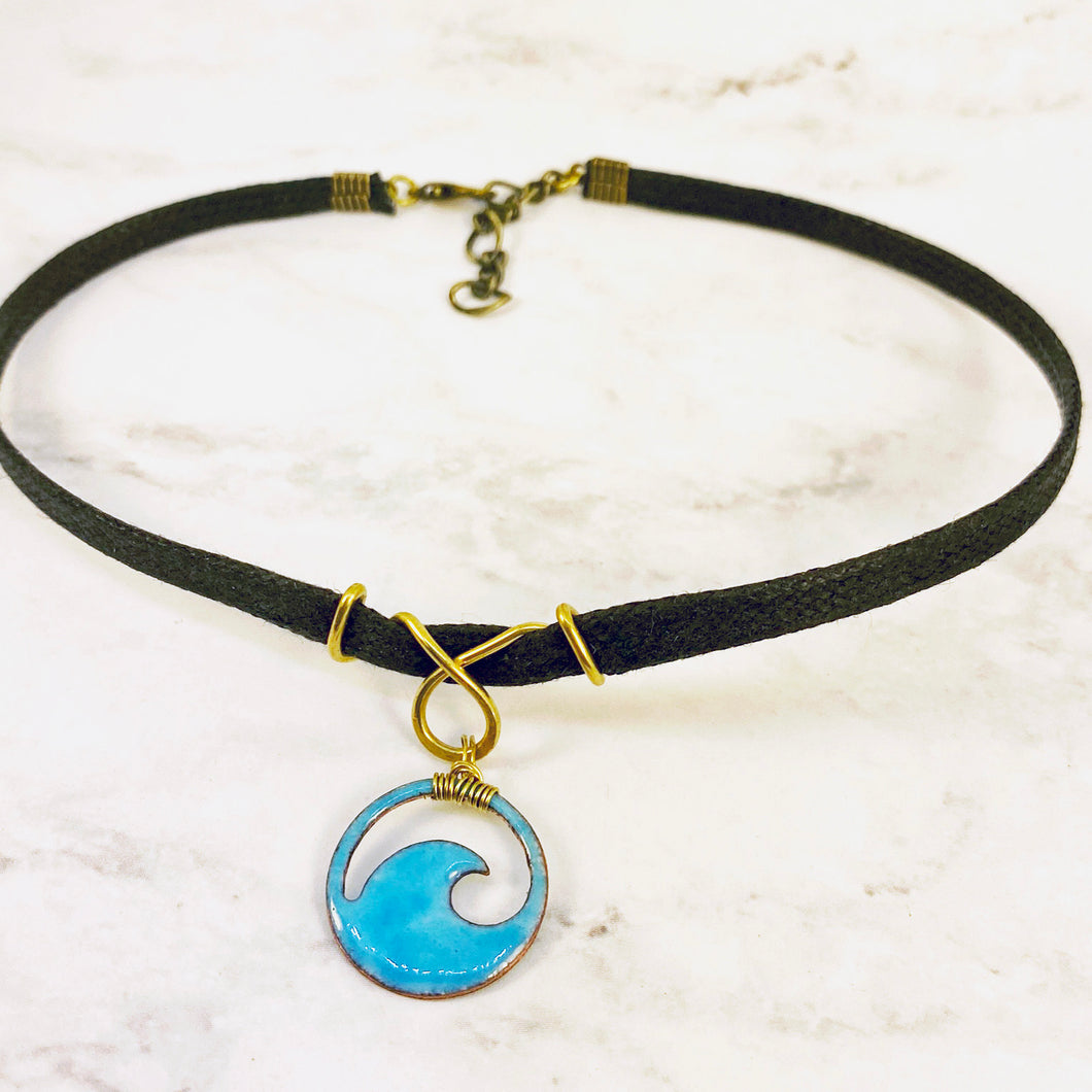 aqua blue enamel mini wave choker with brass bail
