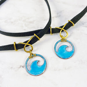 two aqua blue enamel mini wave chokers gifts