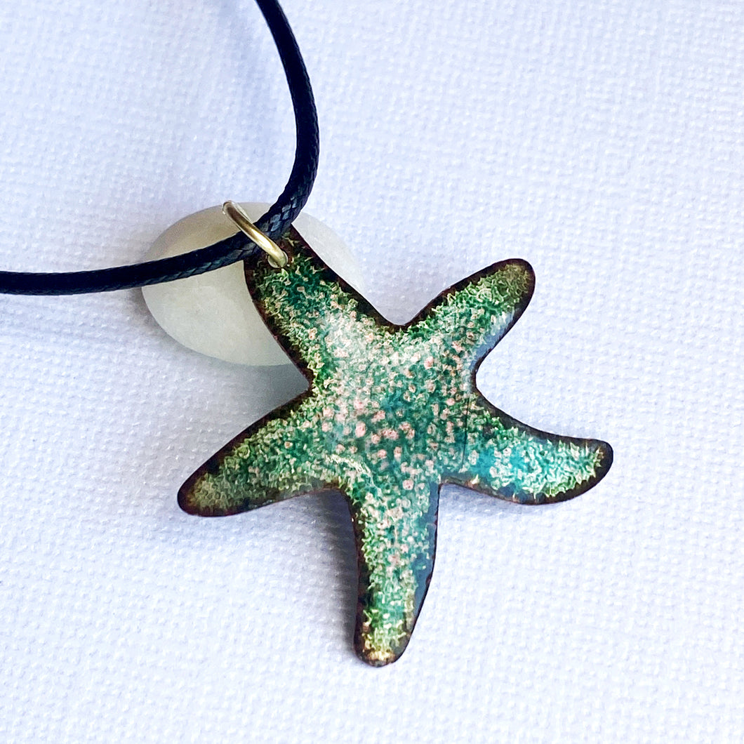 aqua pink seastar necklace
